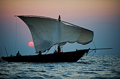 Family cruise round Lake Malawi in a traditional dhow - p6521860 by John Warburton-Lee
