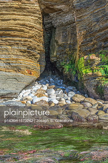 Sunset Cliffs Natural Park at low tide - p1436m1573242 by Joseph S. Giacalone