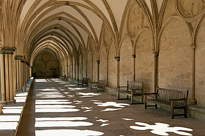 A Covered Corridor With Benches And A Dome Ceiling; Salisbury England - p442m748576f by Jim Julien