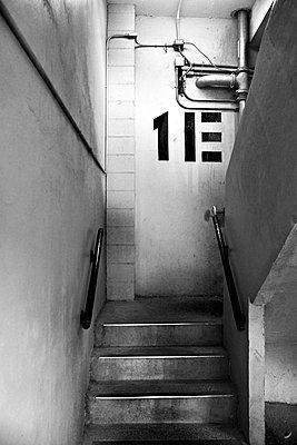 Stairwell in parking garage. - p1072m1056630 by Joseph Shields