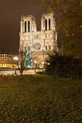 View of floodlit Notre Dame Cathedral at night, Paris, France - p429m1014332 by Alex Holland