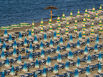 Umbrellas on the beach, Gatteo a Mare, Region of Emilia Romana, Adriatic Sea, Italy, Europe - p871m1167783 by Jean Brooks