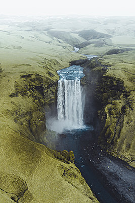 Aerial view of the waterfall Skogafoss - p1634m2210351 by Dani Guindo