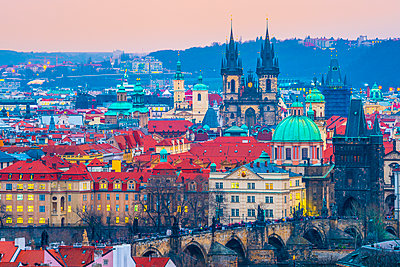 Stare Mesto, including Charles Bridge (Karluv Most) and Church of Our Lady Before Tyn, Stare Mesto (Old Town), UNESCO World Heritage Site, Prague, Czech Republic - p871m2074143 by Alan Copson