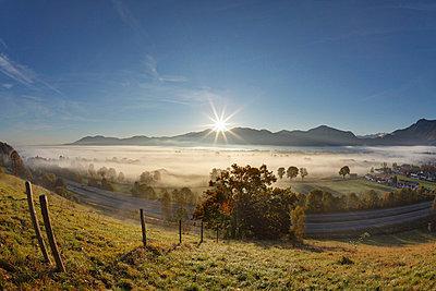 View of village in fog - p300m660110f by Martin Siepmann