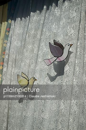 Glass art doves  - p1199m2100314 by Claudia Jestremski