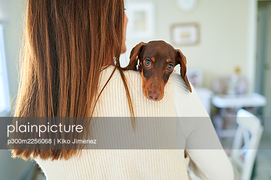 Woman with brown hair carrying dog on shoulder at home - p300m2256068 by Kiko Jimenez