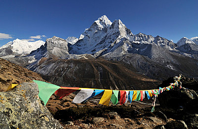 buddhist prayer flags in front of Nepal mountains - p316m664208 by Yevgen Timashov