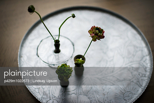 Still life of small vases of cut flowers on silver tray