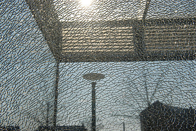 Cityscape seen through broken glass, Copenhagen, Denmark. - p3486408 by Martin Llado