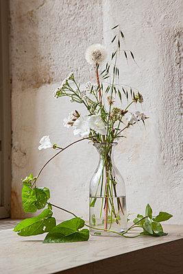 Wiesenblumen mit Ranke in Glasvase neben dem Fenster - p948m2134109 von Sibylle Pietrek