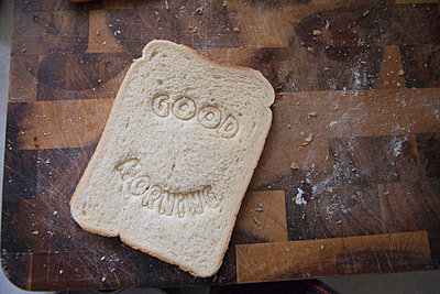 """""""Good morning"""" stamped into bread - p92411787f by Ariel Kay"""