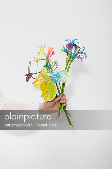 Painted flower bouquet - p801m2258887 by Robert Pola