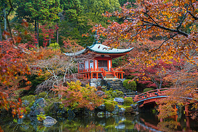 Park in autumn with traditional Japanese temple built on rocks, lake, bridge and trees. - p1100m1520357 by Mint Images