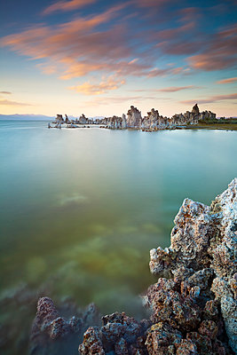 Tufa spires and tower formations of calcium carbonate at sunset, Mono Lake, South Tufa Reserve, Mono Basin Scenic Area, Lee Vining, Inyo National Forest Scenic Area, California, United States of America, North America - p871m1073124f by Neale Clark