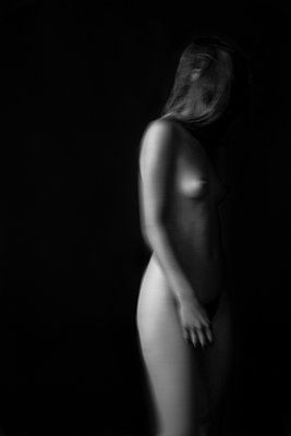 Naked woman in the dark - p1554m2158889 by Tina Gutierrez