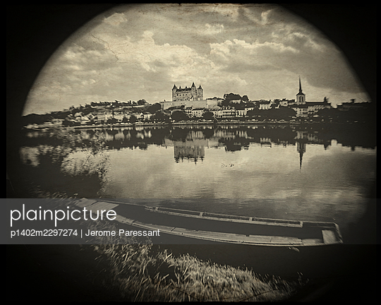 France, Fish eye view of Saumur - p1402m2297274 by Jerome Paressant