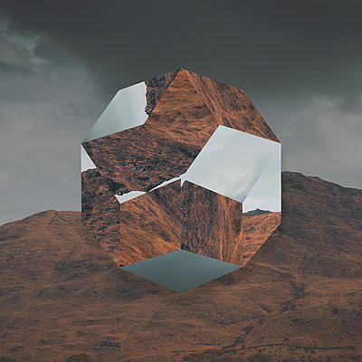 Geometric body against mountain range, collage - p1681m2283621 by Juan Alfonso Solis