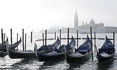 Canals docked in harbor, Venice, Veneto, Italy - p555m1419456 by Walter Zerla