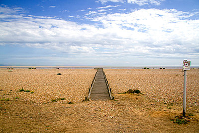 Boardwalk on Romney Marsh, Dungeness, Kent, UK - p855m713457 by Robert Greshoff