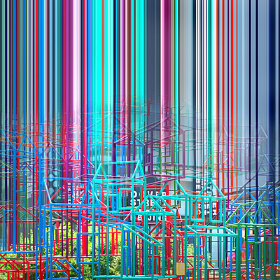Collage, Konstruktionen aus Metall, bunte Linien - p1653m2259831 von Vladimir Proshin