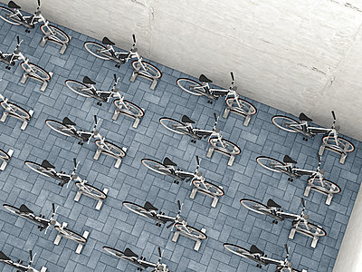 Parked electric bicycles in a backyard, 3D Rendering - p300m1115224f by HuberStarke