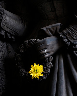 Sculpure and flower at Monumental Cemetery of Staglieno - p1105m1223145 by Virginie Plauchut