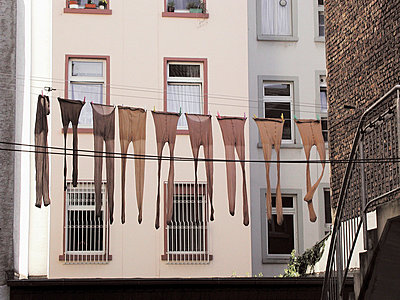 Tights on clothesline - p2550697d by Frank Muckenheim