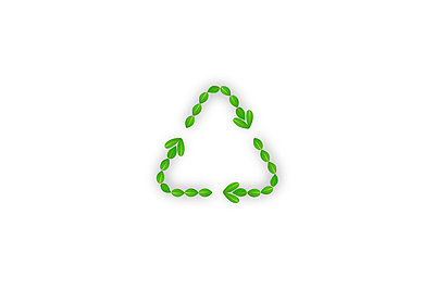 Leaves making recycling symbol, computer graphic, white background - p5145298f by AID