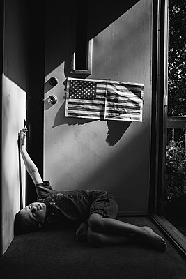Child and American Flag - p1262m1087716 by Maryanne Gobble