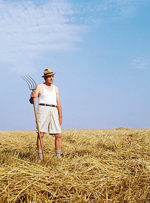 Ein Bauer im Kornfeld - p3290046 von Alexandra Lechner