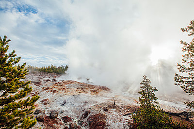 View of hot spring at Yellowstone national park - p1166m1543383 by Cavan Social