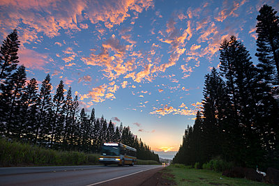 Kamehameha Highway at sunset with bus driving, Haleiwa, Hawaii Islands, USA - p343m1543698 by Sean Davey