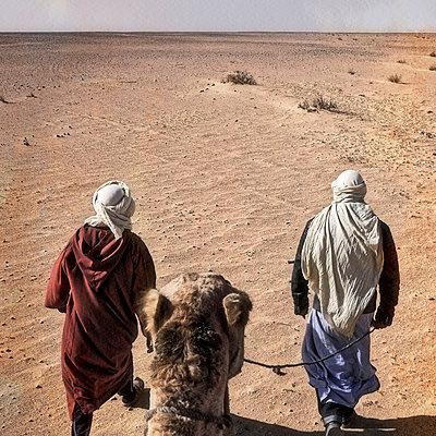 Men with camel in the desert - p636m2021657 by François-Xavier Prévot