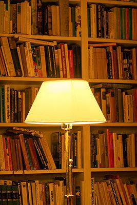 Floor lamp in library - p1418m2273232 by Jan Håkan Dahlström