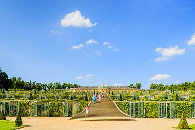 Germany, Brandenburg, Potsdam, Sanssouci Palace, Stairway in garden - p352m1141754 by Werner Nystrand