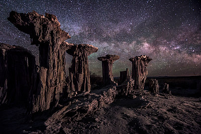 Sand Tufas and the Milky Way - p1424m1500861 by Brad Goldpaint