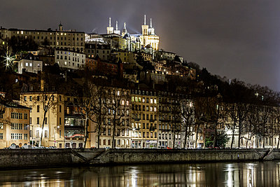 Town of Lyon at night - p910m1467691 by Philippe Lesprit