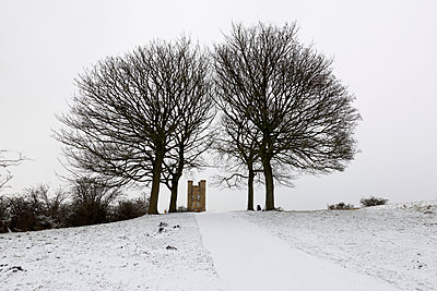 Broadway Tower framed by bare trees in snow, Broadway, Cotswolds, Worcestershire, England, United Kingdom, Europe - p871m1506664 by Stuart Black
