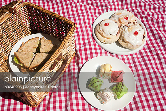 Picnic hamper with sandwiches and cakes