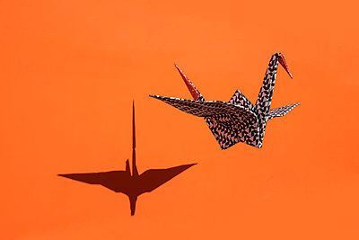 Origami crane, orange background, shadow, copy space - p300m2012943 von Petra Stockhausen