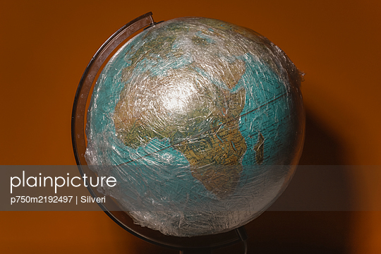 Plastic foil wrapped round globe - p750m2192497 by Silveri