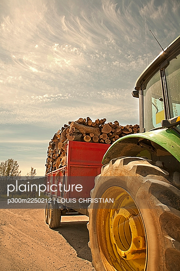 Tractor with trailer filled with freshly cut logs - p300m2250212 by LOUIS CHRISTIAN
