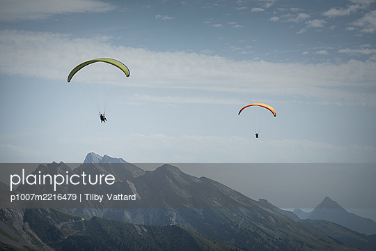 France, Aravis, Paragliding in the Alps - p1007m2216479 by Tilby Vattard