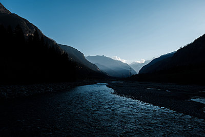 River in the valley between the mountains - p1363m2054124 by Valery Skurydin