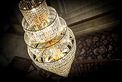 A crystal glass chandelier  - p1403m1482632 by Photofusion