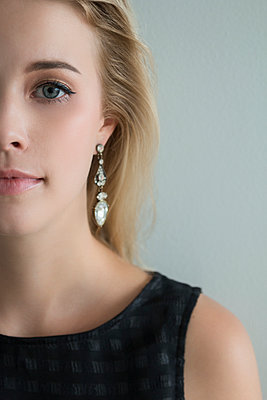 Blonde Woman with Earring - p1331m1182372 by Margie Hurwich