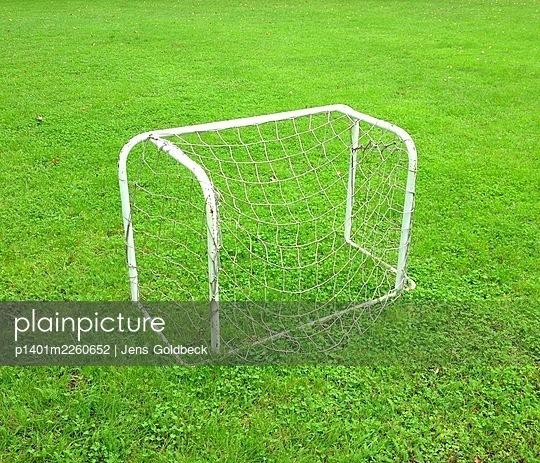 Small goal on football pitch - p1401m2260652 by Jens Goldbeck
