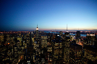 Aerial view of Manhattan at sunset - p3882067 by L.B.Jeffries