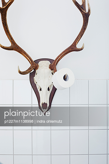 Set of antlers and toilet paper roll - p1227m1138998 by indra ohlemutz
